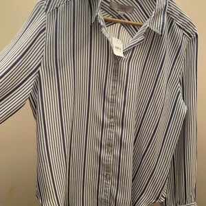 Blue Striped Button Down Blouse from Loft